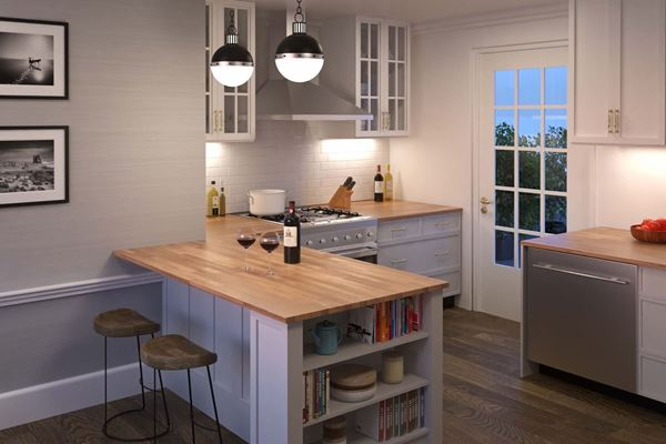 Picture of Kitchen With Light Oak Acacia Wood Kitchen Island Top