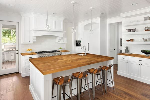 Picture of Kitchen With Brown Wood Kitchen Countertop