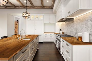 Picture of a Kitchen With Golden Teak Wood Kitchen Countertop