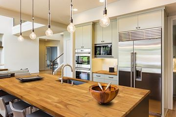 Picture of a Kitchen With Golden Teak Acacia Wood Kitchen Countertop