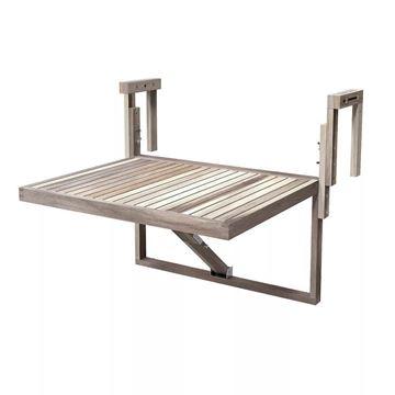Organic White TORONTO Acacia Balcony Railing Table