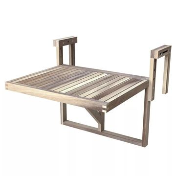 Organic White STOCKHOLM Acacia Balcony Railing Table