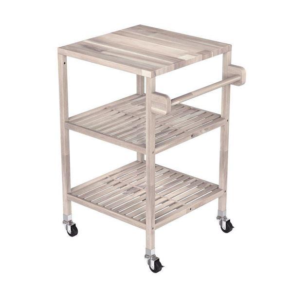 Organic White Acacia Kitchen Cart