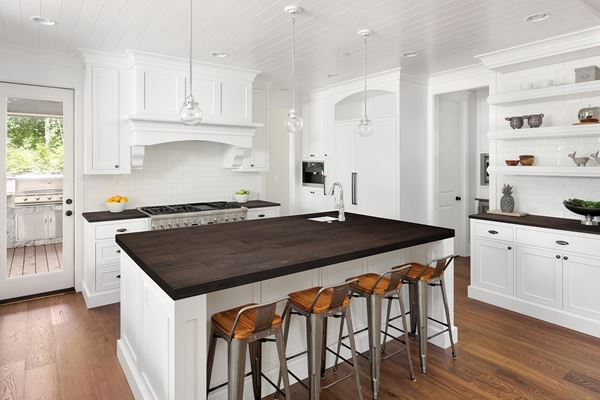 Picture of a Kitchen With Espresso Wood Kitchen Countertop